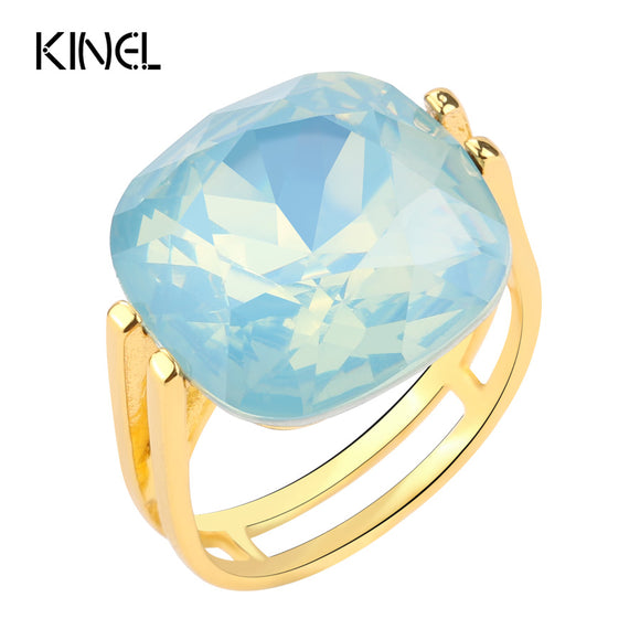 2017 Fashion Square Blue Opal Stone Wedding Rings For Women Gold Color CZ Zircon Ring Female OL Vintage Jewelry