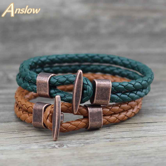 Anslow Fashion Jewelry Trendy Vintage Retro Leather Bracelet For Women Men Unisex Wrap Charm