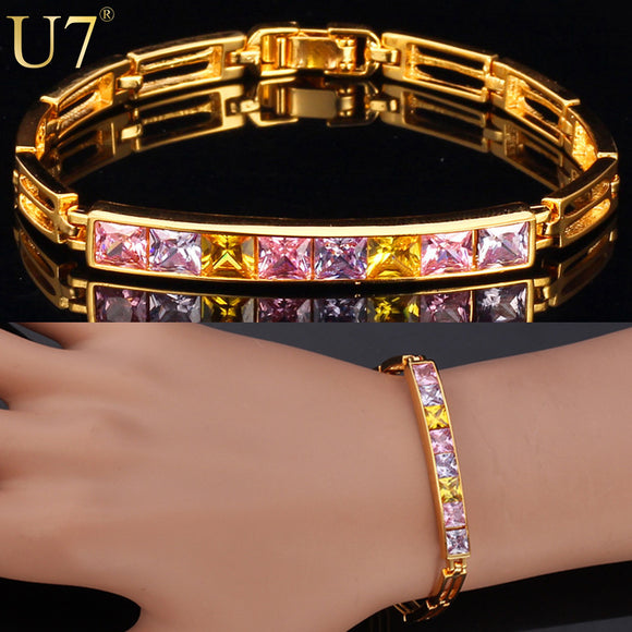 U7 Unique Design Bracelet Fashion Jewelry Gold Color Trendy AAA Cubic Zirconia Bracelets For Women H532