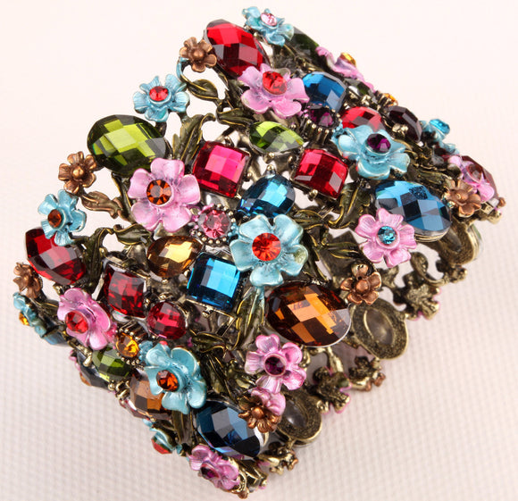 Flower floral stretch wide bracelet for women summer cute cuff fashion wedding bridal jewelry F28 gold & silver color