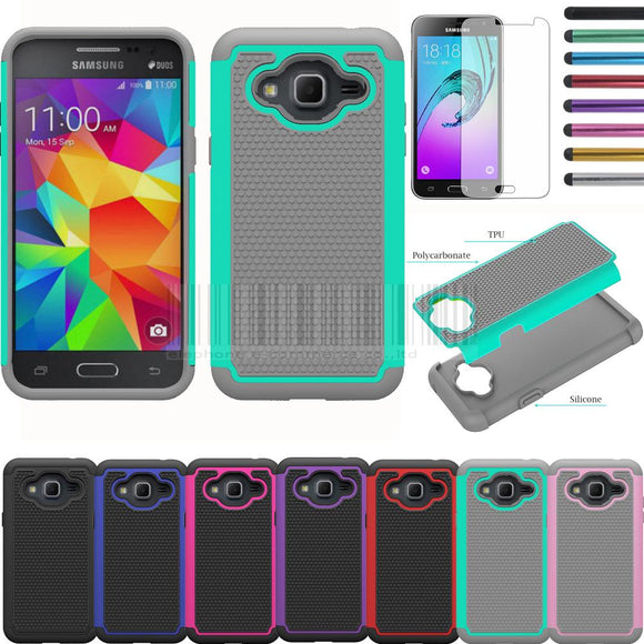 Mix Color Heavy Duty Armor Silicone Hard Case Cover With Films+Stylus For AT&T Samsung Galaxy Express Prime