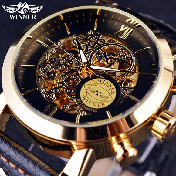 Winner Luxury Golden Case Fashion Clouds Hollow Skeleton Genuine Leather Strap Clock Mens Watch Top Brand Luxury Automatic Watch