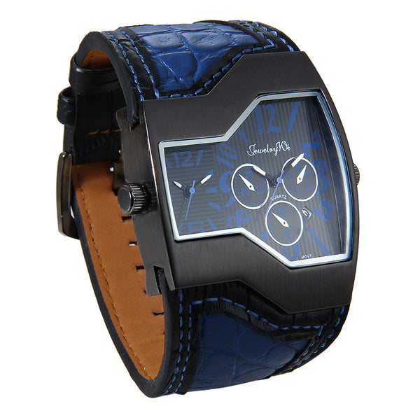 Lancardo Men Watches Top Brand Luxury Quartz Watch Unique 2 Small Dials Blue Leather Strap Male Wristwatch Relojes Hombre