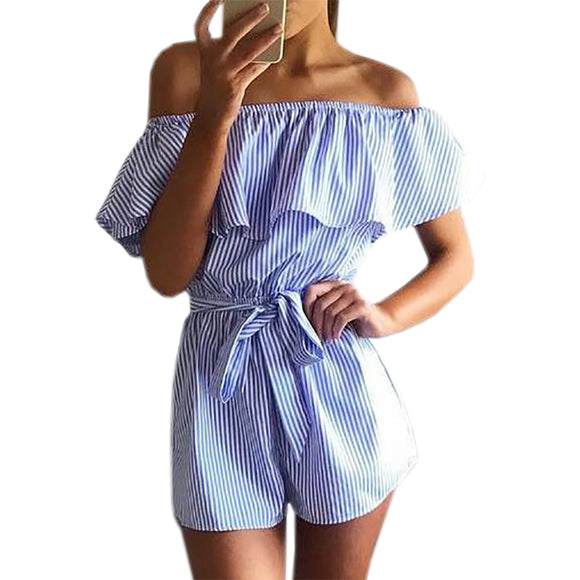 Ruffles Slash Neck Beach Playsuits Summer Women Striped Jumpsuits Girls Sexy Casual Playsuit Overalls with Belts Femininos GV571