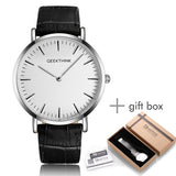 2017 New ultra slim Men Watch Top Luxury brand Quartz-Watch Minimalist trend leather Strap Wristwatch Simple Classic design Gift