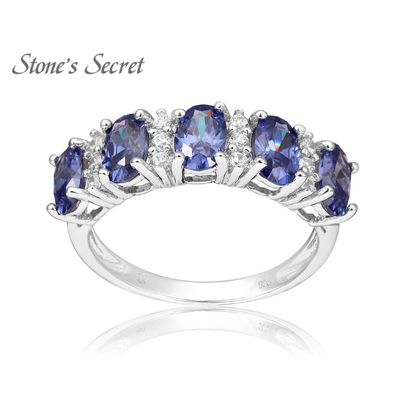 New Style 5.04g 100% 925 Sterling Silver Ring Tanzanite Simulant & AAA Cubic Zirconia Wedding Ring Fine Jewelry Christmas Gift