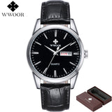 Brand Luxury Men's Watch Date Day Genuine Leather Strap Sport Watches Male Casual Quartz Watch Men Wristwatch Famous WWOOR Clock