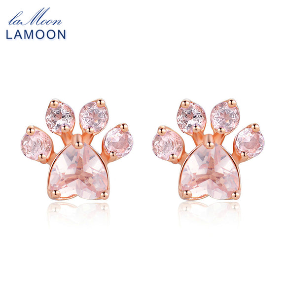 LAMOON 925 sterling-silver-jewelry Bearfoot 100% Natural Gemstone Rose Quartz Rose Gold Stud Earrings for Women
