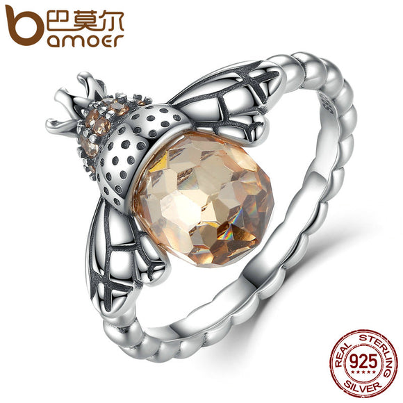 BAMOER 100% Authentic 925 Sterling Silver Orange Wing Animal Bee Finger Ring for Woman Sterling Silver Jewelry