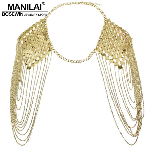 MANILAI Bohemian Punk Statement Necklaces Collar Shoulder Chain Long Necklaces & Pendants Women Sexy Statement Body Jewelry