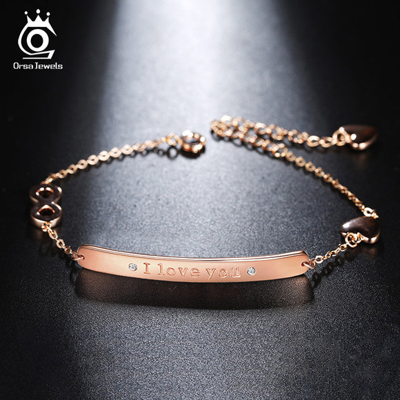 ORSA JEWELS New Arrival Rose Gold Color Bracelet with Paved Zirconia CZ Adjustable Chain For Girl Friend Charm Jewelry OB47