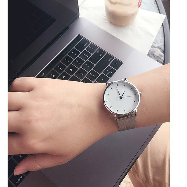 1cc7303d1 ... Hot fashion minimalism style women's watches blue pointer simple silver  watch women quartz clock with stainless ...