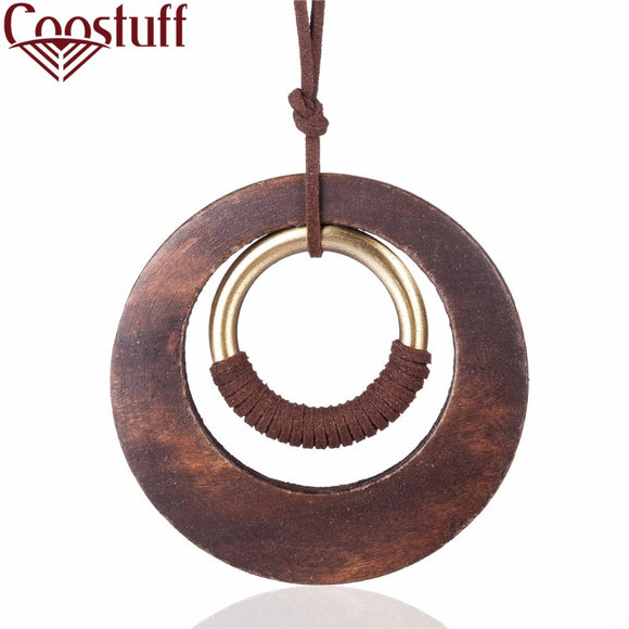 woman Necklace jewelry statement necklaces & pendants long Necklaces vintage Wooden Circle pendant necklace for women collares
