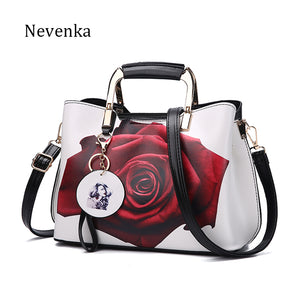 Nevenka Women Handbag Fashion Style Female Painted Shoulder Bags Flower Pattern Messenger Bags Leather Casual Tote Evening Bag