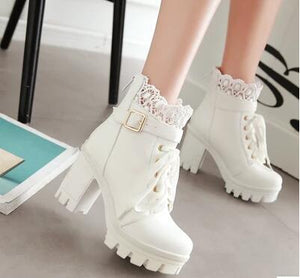 New fashion platform boots women lace up thick heel punk rock shoes women autumn ladies high heel motorcycle boots 2017