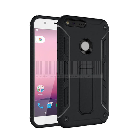 Hybrid Shockproof Rubber Armor Case Hard Kick Stand Anti Knock Protective Silicone Cover For Google Pixel 5''/ Pixel XL 5.5'' @
