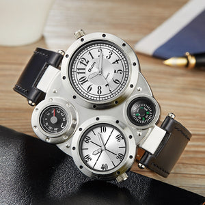 Oulm Casual Leather Sports Watches Men Luxury Brand Unique Designer Military Watch Male Quartz Wrist Watch relojes deportivos