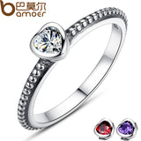 BAMOER 3 Colors Authentic 100% 925 Sterling Silver Ring Love Heart Ring Original Wedding Jewelry