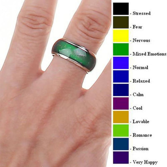 Fine Jewelry Mood Ring Color Change Emotion Feeling Mood Ring Changeable Band Temperature Ring