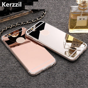 Kerzzil Rose gold Luxury Mirror Case For iPhone 7 6 6S Plus 5s SE Soft Clear TPU Cover For iPhone 6 7 6S 5S