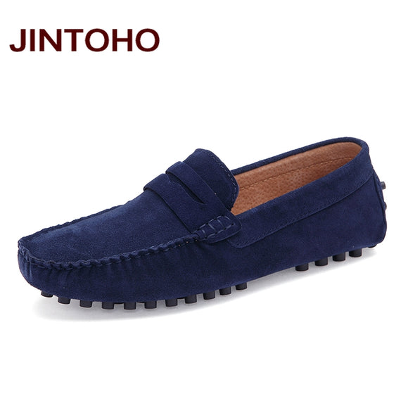 JINTOHO Summer Fashion Men Casual Shoes High Quality Men Genuine Leather Shoes Luxury Brand Men Boat Shoes Slip On Men Flats