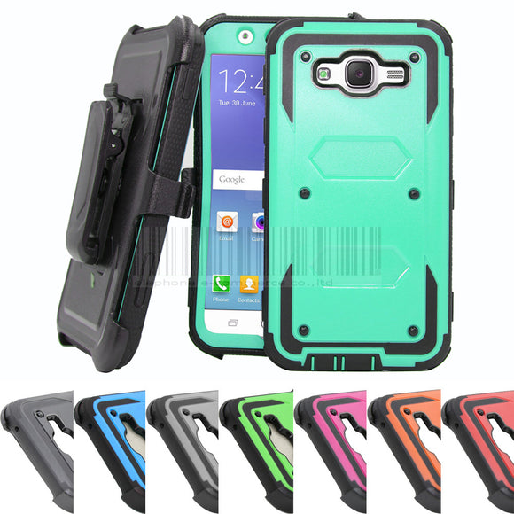Heavy Duty Hybird Armor Case Holster With Belt Clip Anti Shock Impact Protective Cover For Samsung Galaxy J7 J700H J700F J700