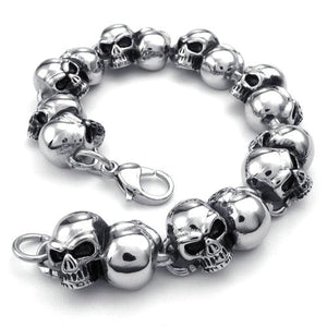 2017 Hot Selling NEW Fashion jewelry Titanium Stainless steel Classic Biker Men's Skull heavy Bracelet/Bangles