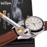 2017 New USB Charging sports Lighter Watch Men's Casual Quartz Wristwatches with Windproof Flameless Cigarette Lighter