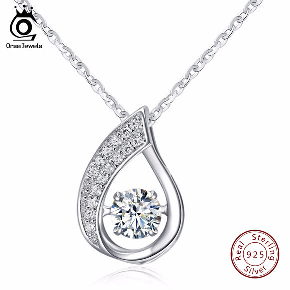 ORSA JEWELS 100% Sterling Silver 925 Water-Drop Pendant Necklace with Movable Shiny Cubic Zirconia Genuine Silver Jewelry SN41