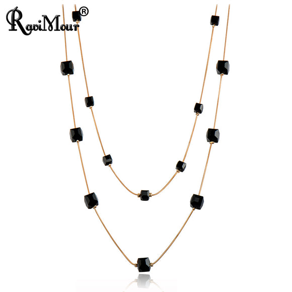 RAVIMOUR Crystal Long Necklace for Women Fashion Gold Color Chain Multilayer Maxi Necklaces & Pendants Chokers Jewelry 2017
