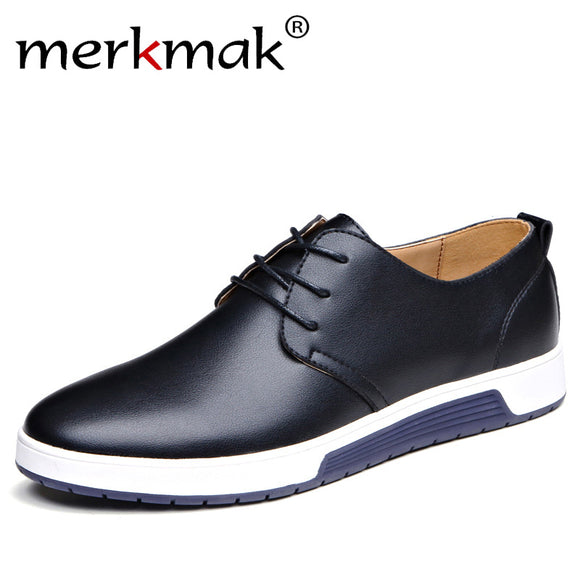 Merkmak Luxury Brand Men Shoes Casual Leather Fashion Trendy Black Blue Brown Flat Shoes for Men