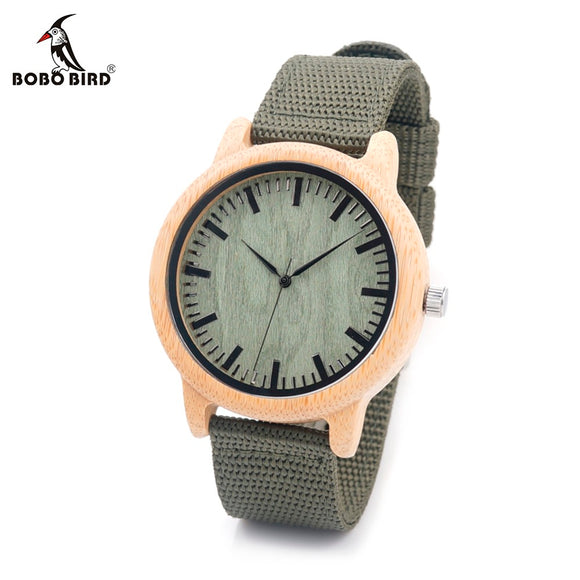 BOBO BIRD CaD11 Nylon Straps Bamboo Wood Watches Wooden Dial Face Japan Movement Quartz Watch for Women Men OEM ping