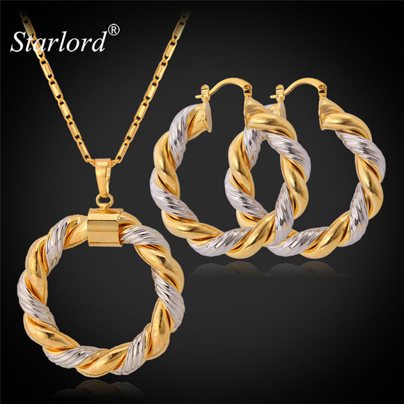 Starlord Two Tone Gold Color Chain Round Jewelry Set Fashion Unique Hoop Earrings Pendant Necklace Set For Women Gift PE683