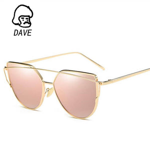 2017 Brand Retro Cat Eye Sunglasses Women Vintage Fashion Rose Gold Mirror Eye Glasses Unique Flat Ladies Eyewear UV400