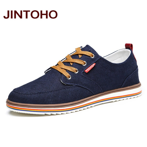 JINTOHO Big Size Breathable Mens Shoes Sales Lace Up Canvas Shoes Luxury Brand Men Shoe Designer China Shoes