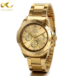 Lancardo Mens Watches Top Brand Luxury Business Men Gold Watch Men Quartz Wristwatch Relogio Masculino Erkek Kol Saati 2017