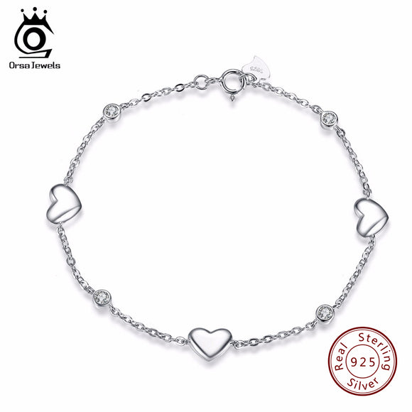 ORSA JEWELS 925 Sterling Silver Bracelet for Women with 3 Pieces Genuine 925 Silver Heart Charm Bracelets Party Jewelry SB02
