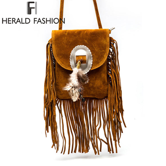 Women Pu Leather Bag Female Fashion Shoulder Bags Famous Brand Crossbody Bags Fringe Tassel Women Messenger Bags herald fashion