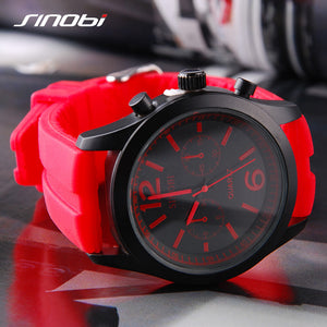 SINOBI Sports Women's Wrist Watches Casual Geneva Quartz Watch Red Silicone Strap Montre Femme Reloj Mujer 2017
