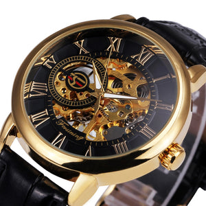 2017 Forsining 3d LogoBlack Gold Men Mechanical Watch Montre Homme Mens Watches Top Brand Luxury Leather Skeleton Royal Design