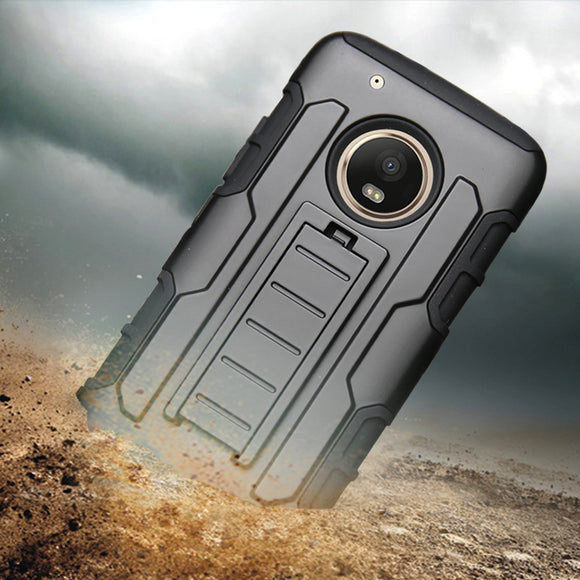Heavy Duty Hybrid Rugged Case Belt Clip Holster Shockproof Anti-knock Shell Cover For Motorola Moto G5 Plus XT1684 XT1685 XT1687