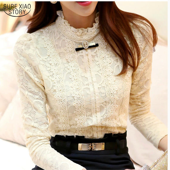 2017 New Hot women tops Women Clothing fashion Blusas Femininas Blouses & Shirts Fleece Women Crochet Blouse Lace Shirt 999