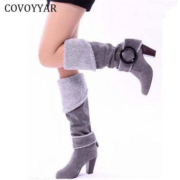 2017 Winter High Heeled Knee High Boots Elegant Sexy Big Buckle Female Women Fur Boots Shoes Woman Big Size 34~43 WBS105