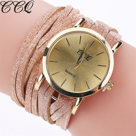 2017 CCQ Fashion Luxury Women Bracelet Watch Ladies Quartz Watch Casual Leather Wristwatch Relogio Feminino C130