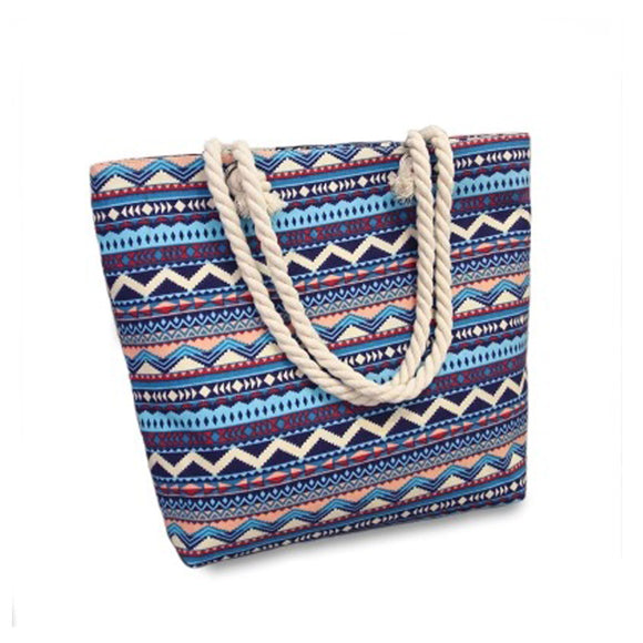 2017 New Summer Women Canvas Bohemian Style Casual Tote Shopping Big Bag Female Striped Shoulder Beach Bag floral Messenger Bags
