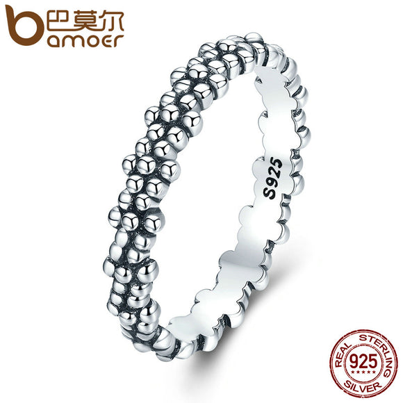 BAMOER Authentic 925 Sterling Silver Stackable Ring Daisies Flower Finger Rings for Women Sterling Silver Jewelry Gift