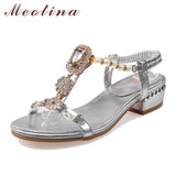 Meotina Shoes Women Sandals Rhinestone Sandals Luxury Shoes 2017 Beading Summer Sandals Chunky Low Heels Gold Wedding Shoes