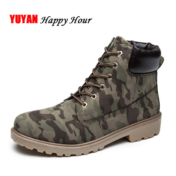 New 2017 Autumn Winter Boots Men Winter Shoes Camouflage Warm Plush Fashion Brand Mens Ankle Boots for Cold Winter CH1319