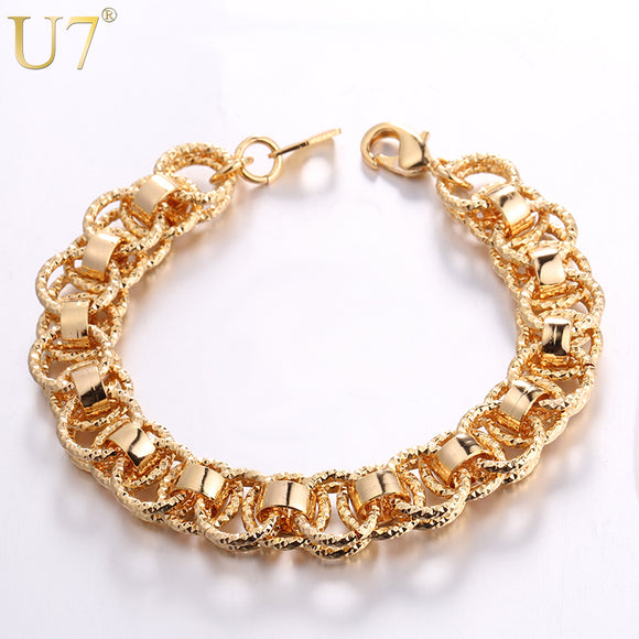 U7 Hand Chain Bracelet Trendy Gold/Silver/Black Color 21cm Unique Round Bracelets Bangles Women/Men Jewelry Hot Sale H489