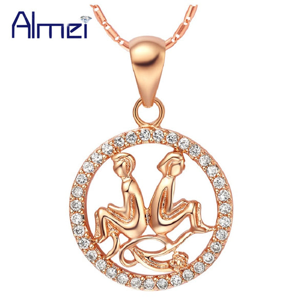 20% 2017 Fashion Crystal Twelve Constellations Pendants Gold Color for Women Girl Gemini Cancer Leo Virgo Libra Scorpio N1047